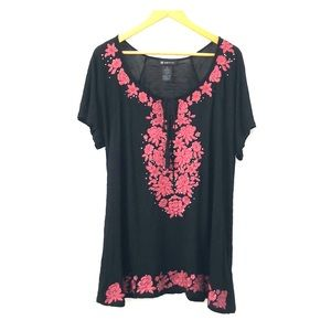 INC Black Embroidered Top